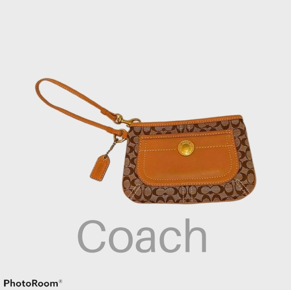 Coach Tan and Brown Wristlet